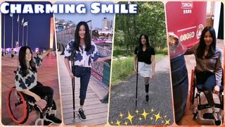 Beautiful leg amputee lady 71820 : Crutching elegantly | Cute amputee | Charming Smile