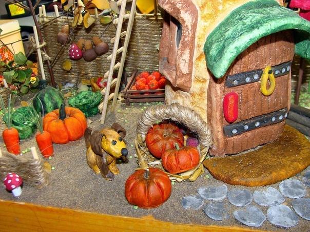 Осенняя поделка соленое тесто, гуашь