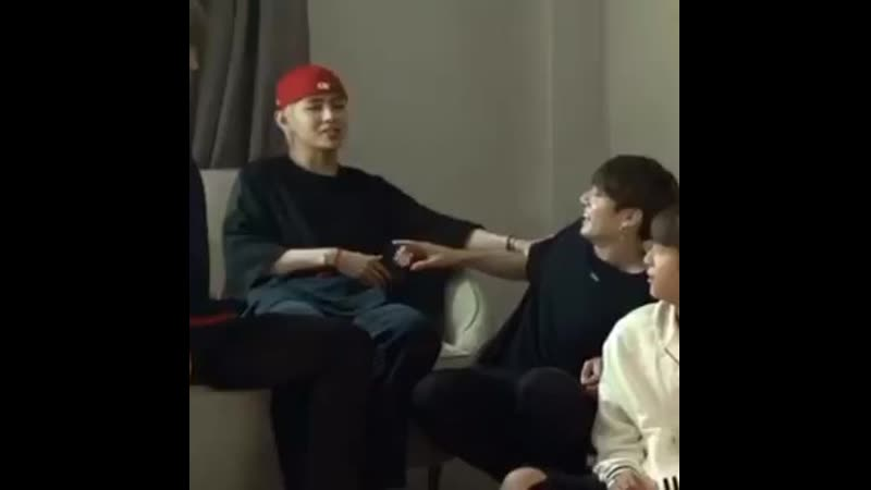 Taehyung was kind of because of the punishment but when jungkook started teasing him, he smiled a bit. thats so cute. - -