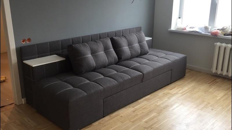 Сборка дивана трансформер прайм с нишами в тумбах вертикальной загрузки