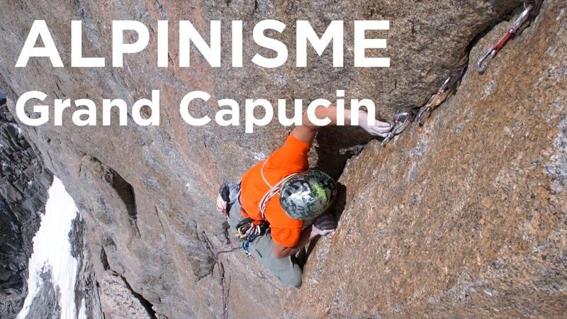 Grand Capucin voie Bonatti Ghigo mur de 40 mètres en libre escalade alpinisme Chamonix 8476