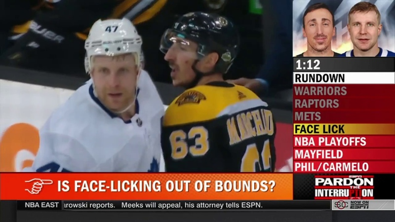 Nhl Hockey player Brad Marchand licks Leo Komarov PTI