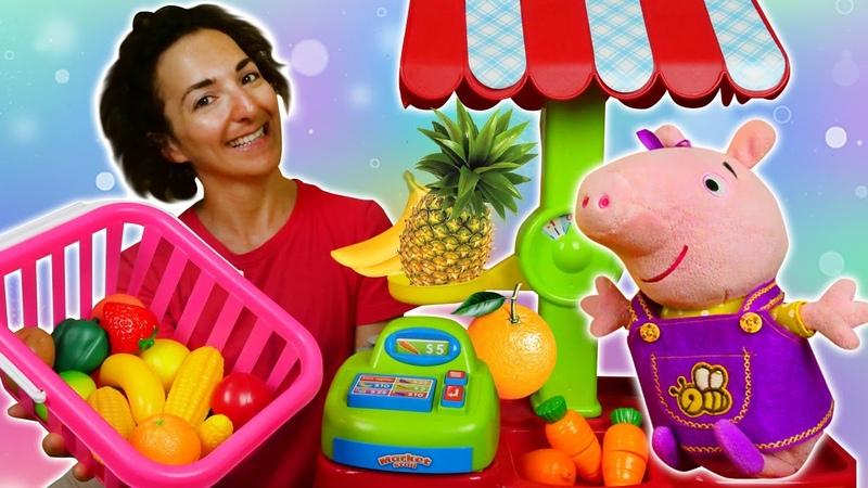 Impariamo con Peppa Pig Numeri nomi della frutta e verdura in italiano per bambini Giochi Peppa