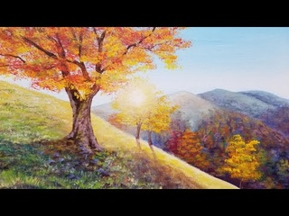 Autumn Trees Landscape Acrylic Painting LIVE Tutorial