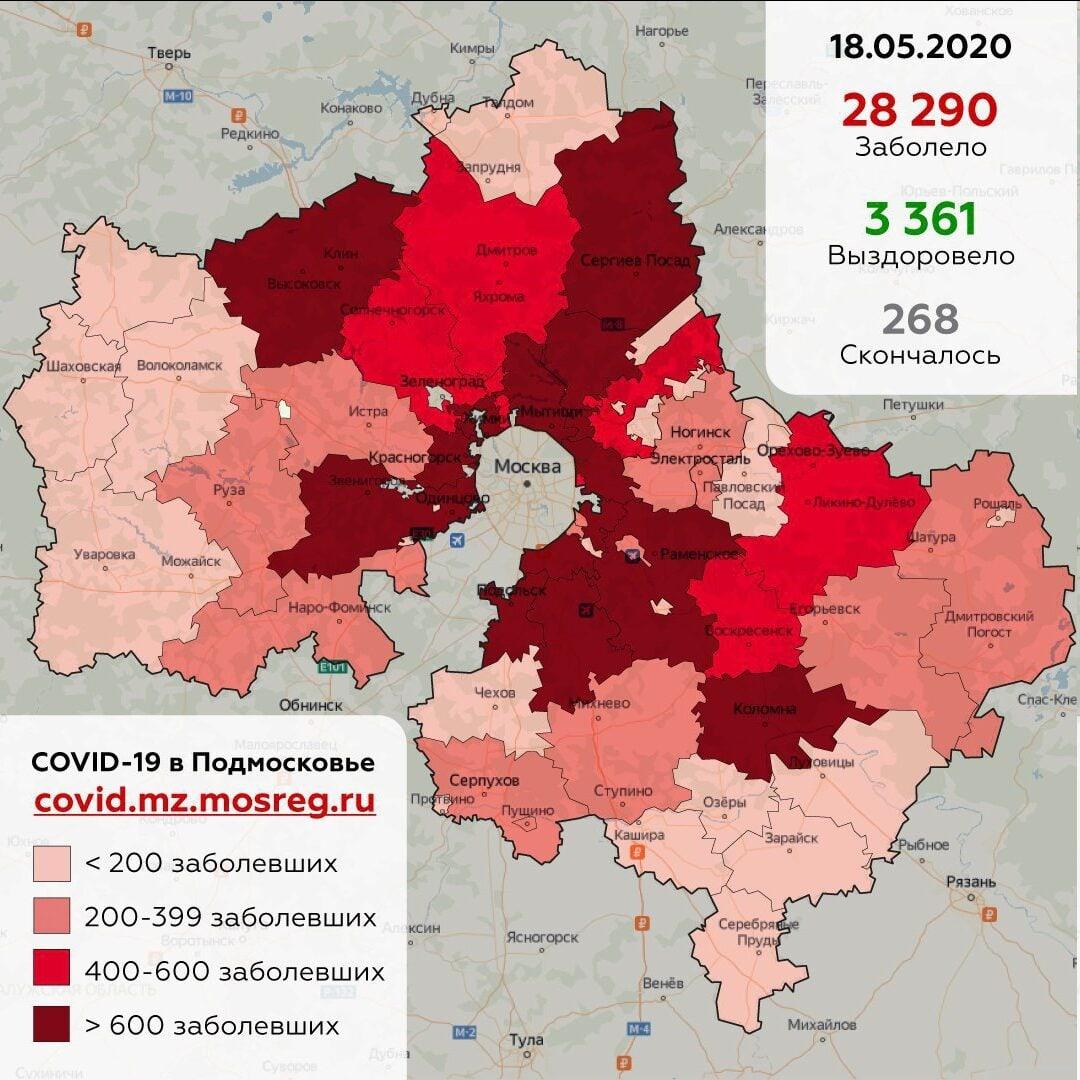 В Дубне выявлено 76 человек, заболевших коронавирусом с момента начала пандемии