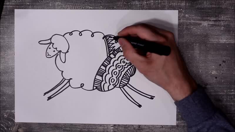 Видео урок для детей и взрослых 6 способов нарисовать овечку