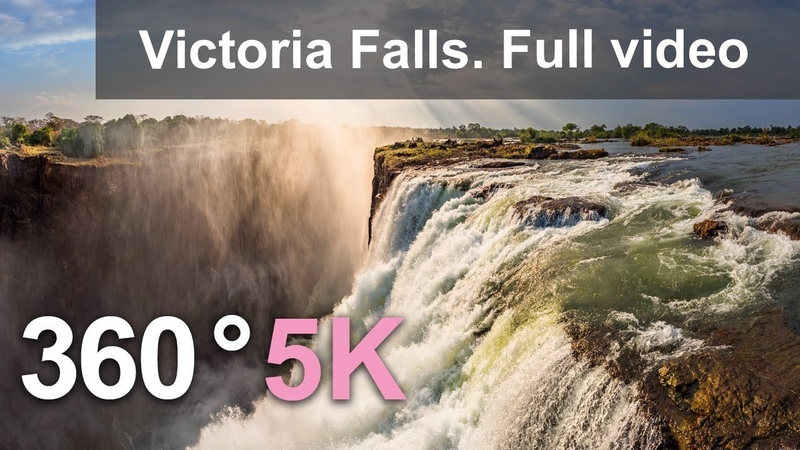 360 video, Victoria Falls, The Pearl of Africa. 5K aerial video in English
