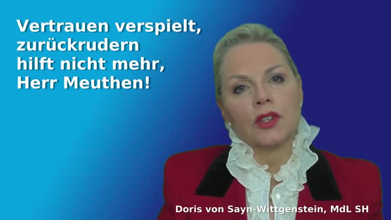 DORIS VON SAYN WITTGENSTEIN VERTRAUEN VERSPIELT ZURÜCKRUDERN HILFT NICHT MEHR HERR MEUTHEN