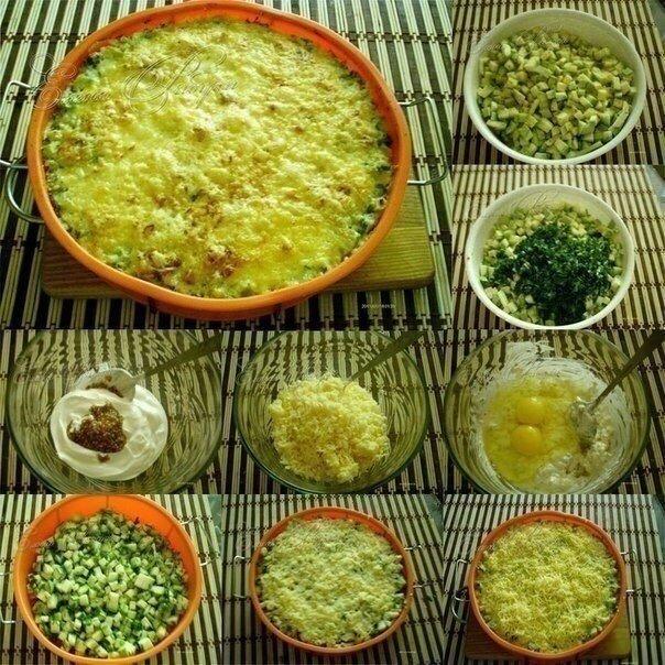 Суперский рецепт кабачков, запеченных с сыром НУЖНО:1. Кабачки порезать на кубики (3 средних кабачка)2. Добавить к ним мелко порезанные укроп и петрушку3. Посолить, добавить специи4. Сметану