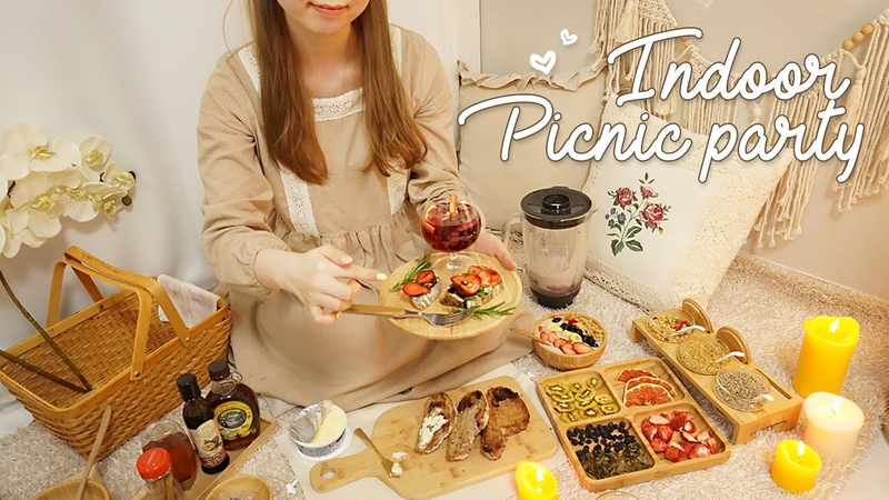 ASMR Cozy Indoor Picnic Home Party with You sangria bruschetta smoothie bowl fruit tea