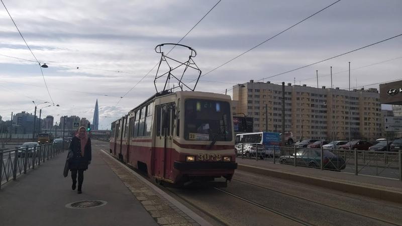 Трамвай маршрут №21 Приморский пр т ул Жени Егоровой ЛВС 86К М б 3072 10 04 2021 Санкт Петербург