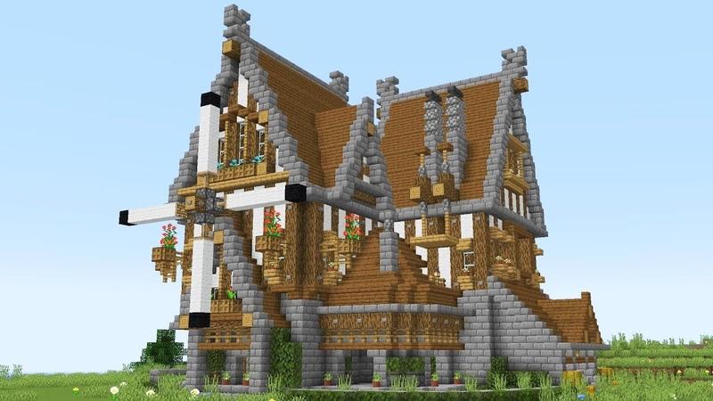 Огромный ДОМ ИЗ ДЕРЕВА В MINECRAFT средневековье
