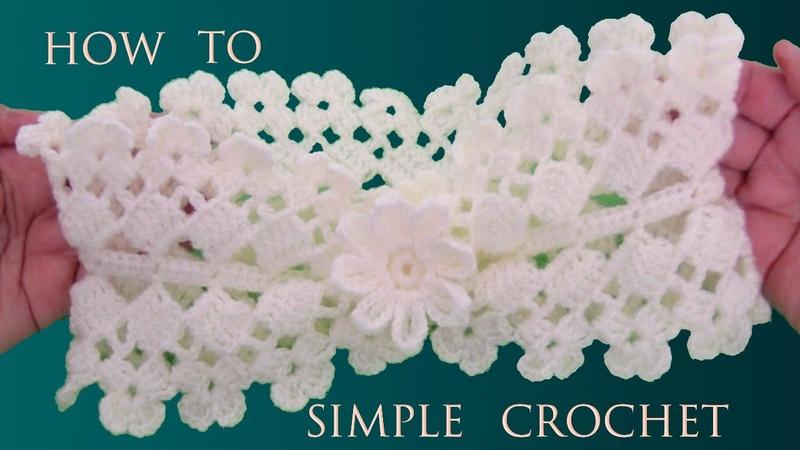 Diadema con flor 3D tejida a Crochet en Punto cuadrados y flores tejidas de una sola tira