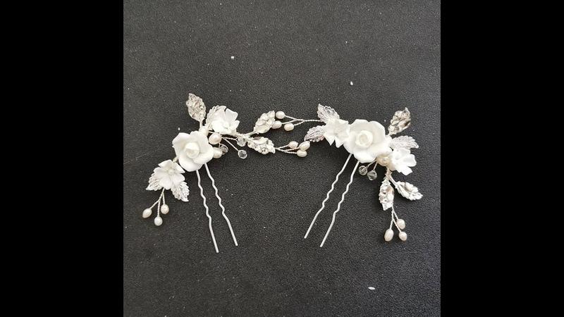 Slbridal ручная работа сплав лист ceram цветок пресноводный жемчуг шпильки для свадебной прически свадебные наклейки для волос