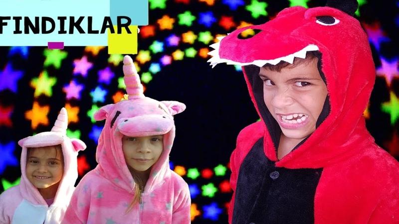 Fındıklar Unicorn parti Mikail Elis Meryem ile kostüm partisi'ye gidiyorlar