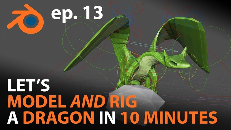Let's MODEL and RIG a Dragon in 10 MINUTES - ep.13 - Blender 2.82