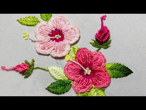 Brazilian embroidery Fly Stitch Leaf bud FOR Sudanese rose