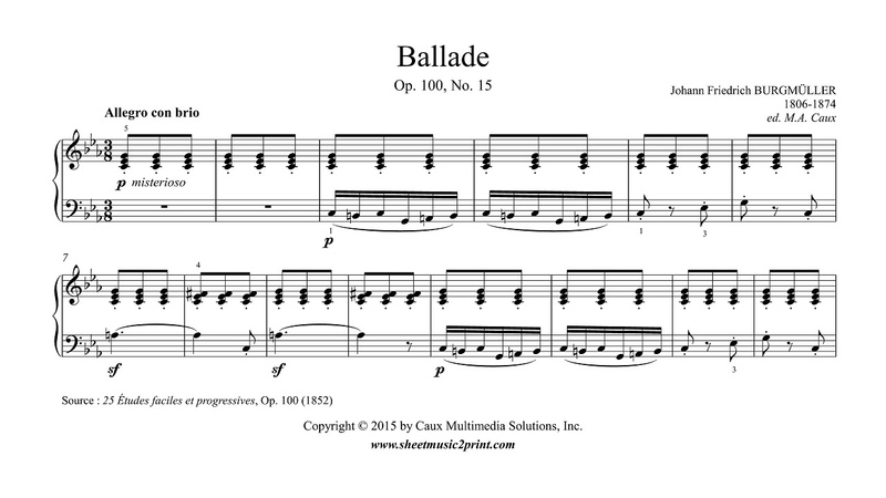 Burgmüller Ballade Op 100 No 15