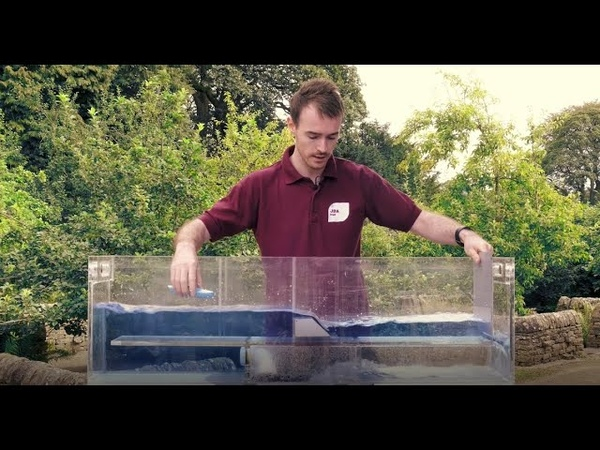 JBA Trust hydraulic flume showing how engineered structures affect flow in rivers full video
