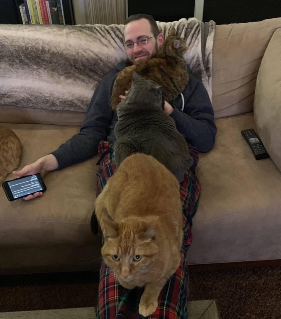 Коты как правило ложатся на больное место. И тут у меня вопрос, у мужчины все тело болит?)))