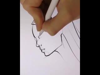 Учимся рисовать лицо в профиль)