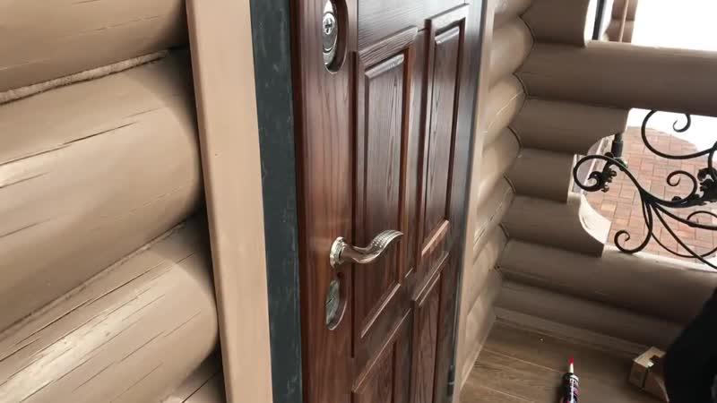 Накладная панель на входную дверь из термо древесины