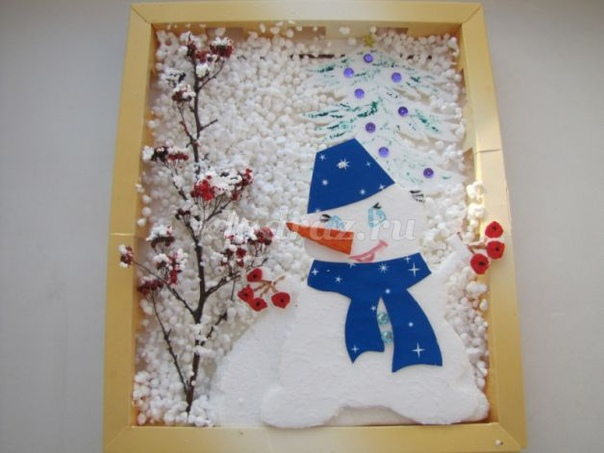 Панно в конфетной коробке: Снеговик Материалы: Коробка от конфет Цветная бумага Листы пенопласта (крупного и мелкого) Гуашь, кисти Клей ПВА Ножницы, нож Блестки Шаблоны Веточка Ход работы: Шаг