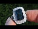 RARE 7 03 Carat Blue Indicolite Tourmaline Diamond Cocktail Ring Estate Sale