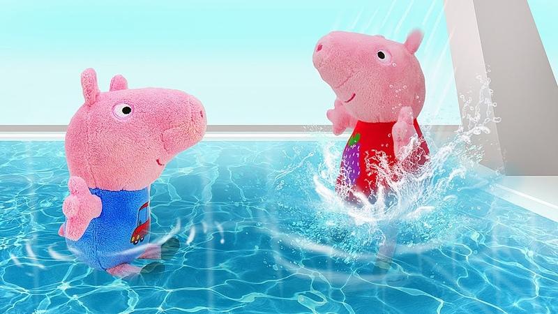 Aprendendo a nadar na piscina com o George História infantil da Peppa Pig em português