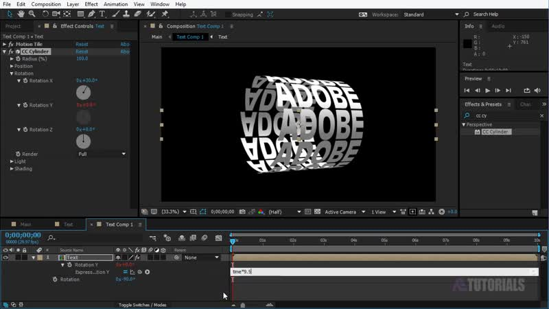 After Effects Tutorial Cylinder Title Animation In After Effects