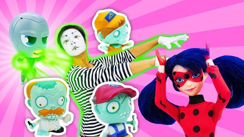 Ataque zumbi e outras aventuras da Ladybug e Barbie Contos de fada com brinquedos para crianças