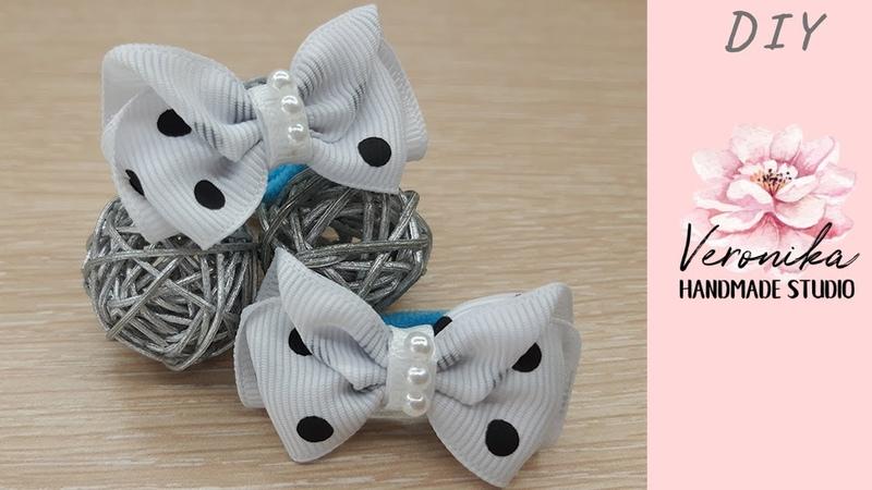 Милые бантики для малышек из ленты в горошек 🎀 Mini hair bow tutorial 🎀 Laço de fita n5