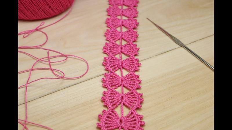 ЛЕНТОЧНОЕ КРУЖЕВО Бантики вязание крючком мастер класс ПРОСТОЕ ВЯЗАНИЕ для начинающих Crochet