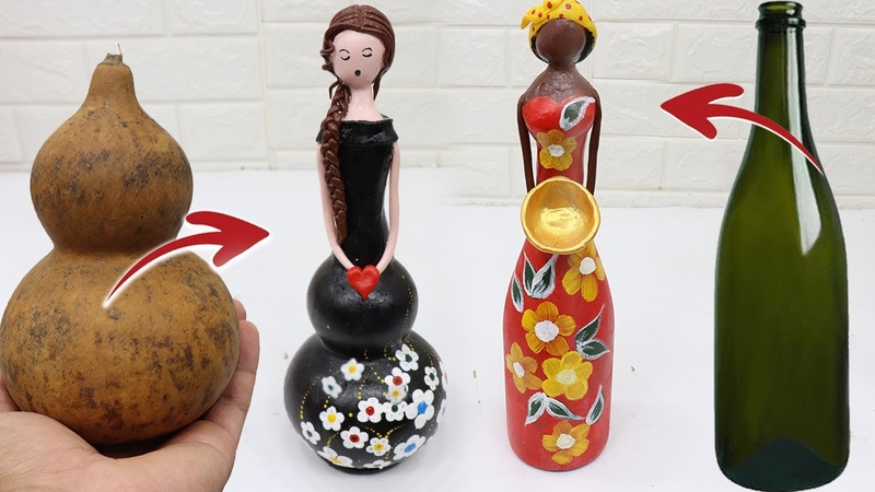 How to make dolls with Birdhouse Gourds Glass bottles Doll crafts