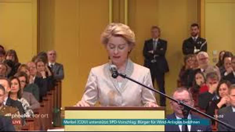 Ursula von der Leyen bei ihrer Vereidigung zur EU Kommissionspräsidentin am 13 0